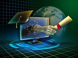 Hand With Diploma Extending Through Computer Screen