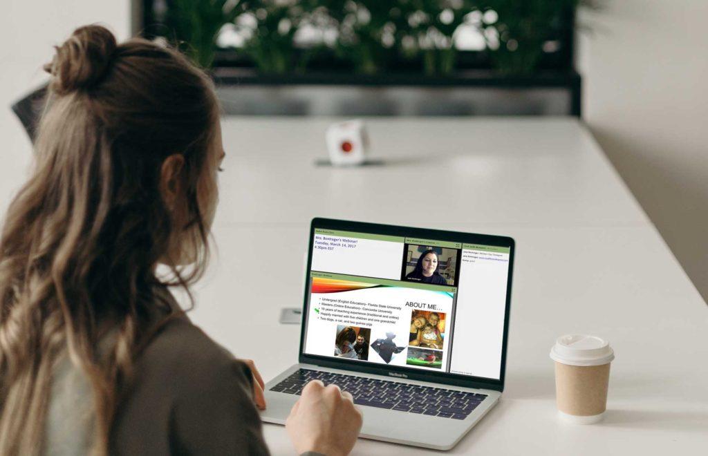 Girl Using Laptop In Live Homeschool Class Online